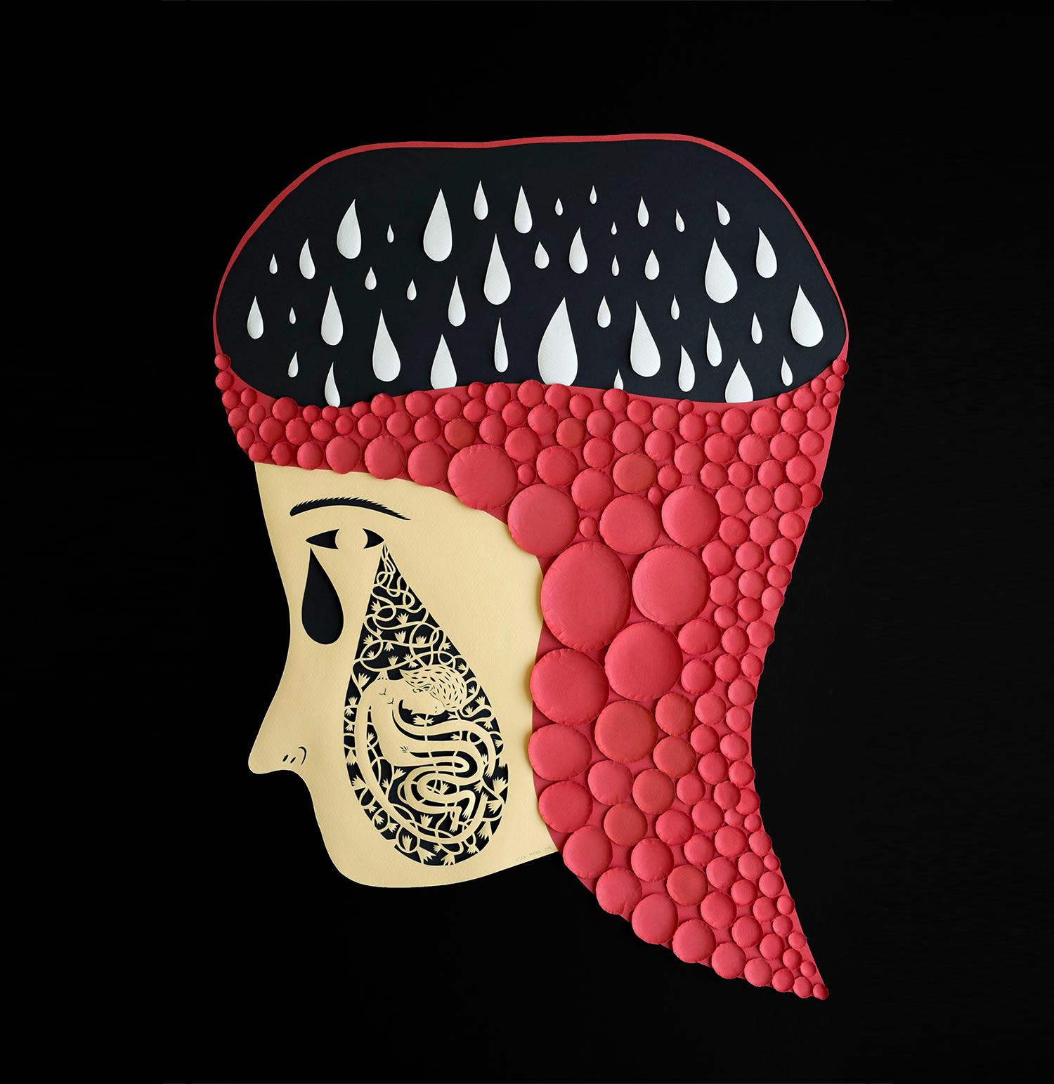 raindrops in head, paper cut portrait by elsa mora