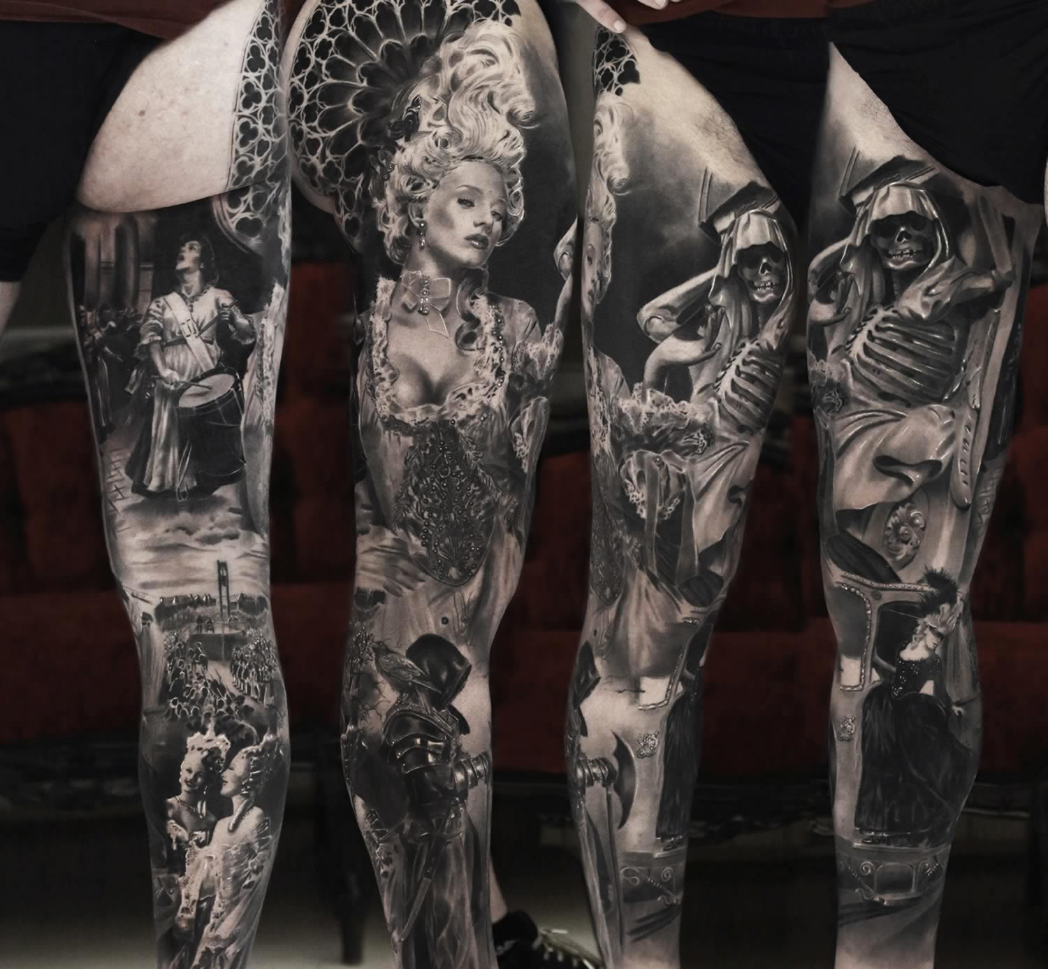 hyperrealistic tattoo on leg, ancien regime, woman with white wig