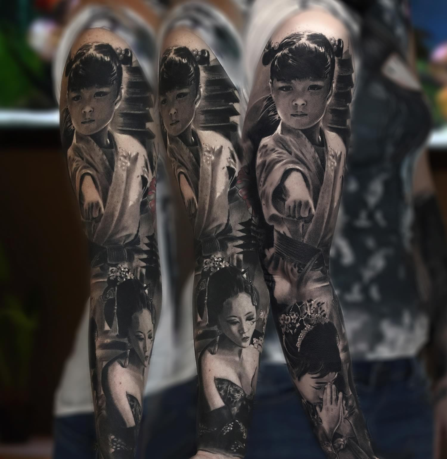 asian girl tattoo sleeve
