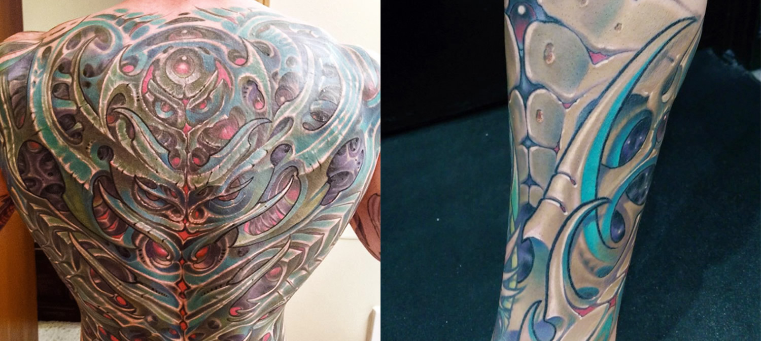 biomechnical tattoos by Adrian Dominic