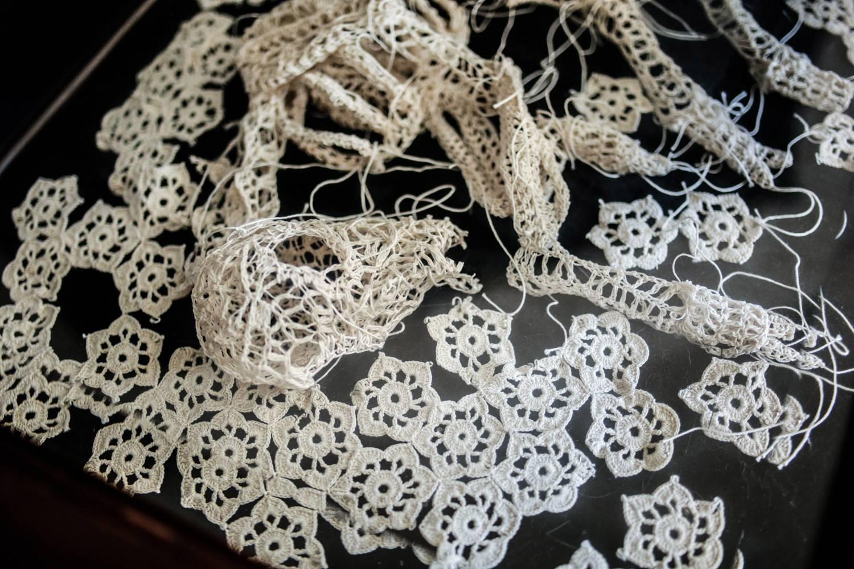 Caitlin McCormack - crocheted animal skeleton lying on side