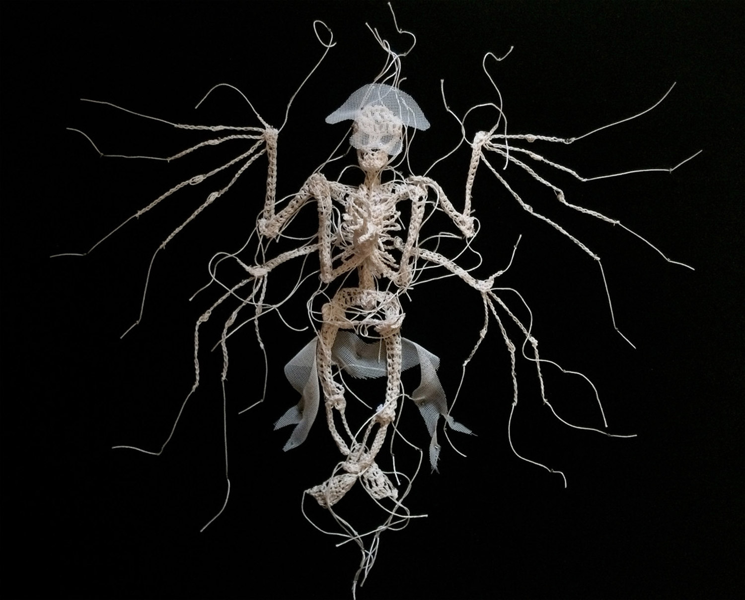 Caitlin McCormack - crocheted winged skeleton
