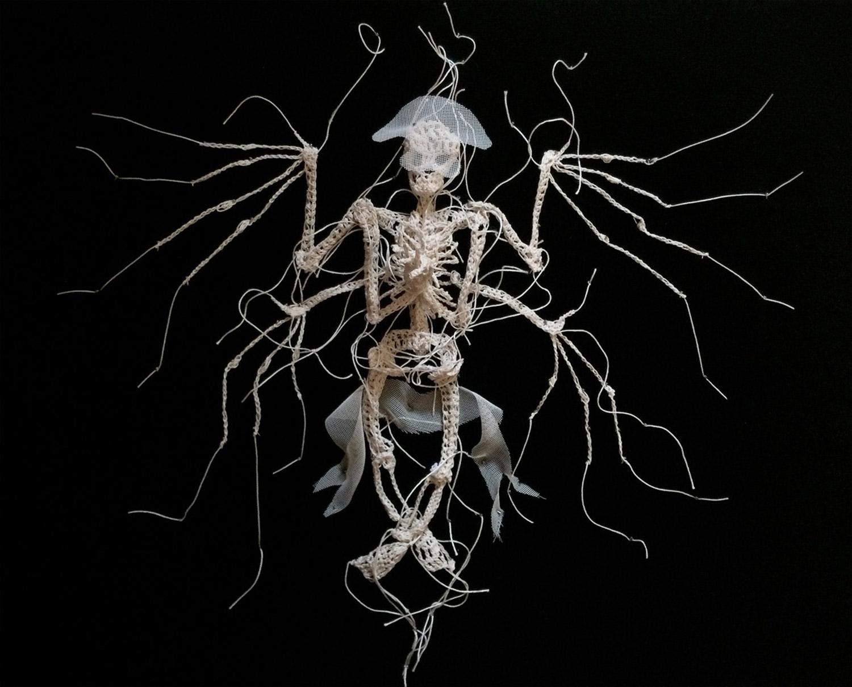 Caitlin McCormack - crocheted winged skeleton