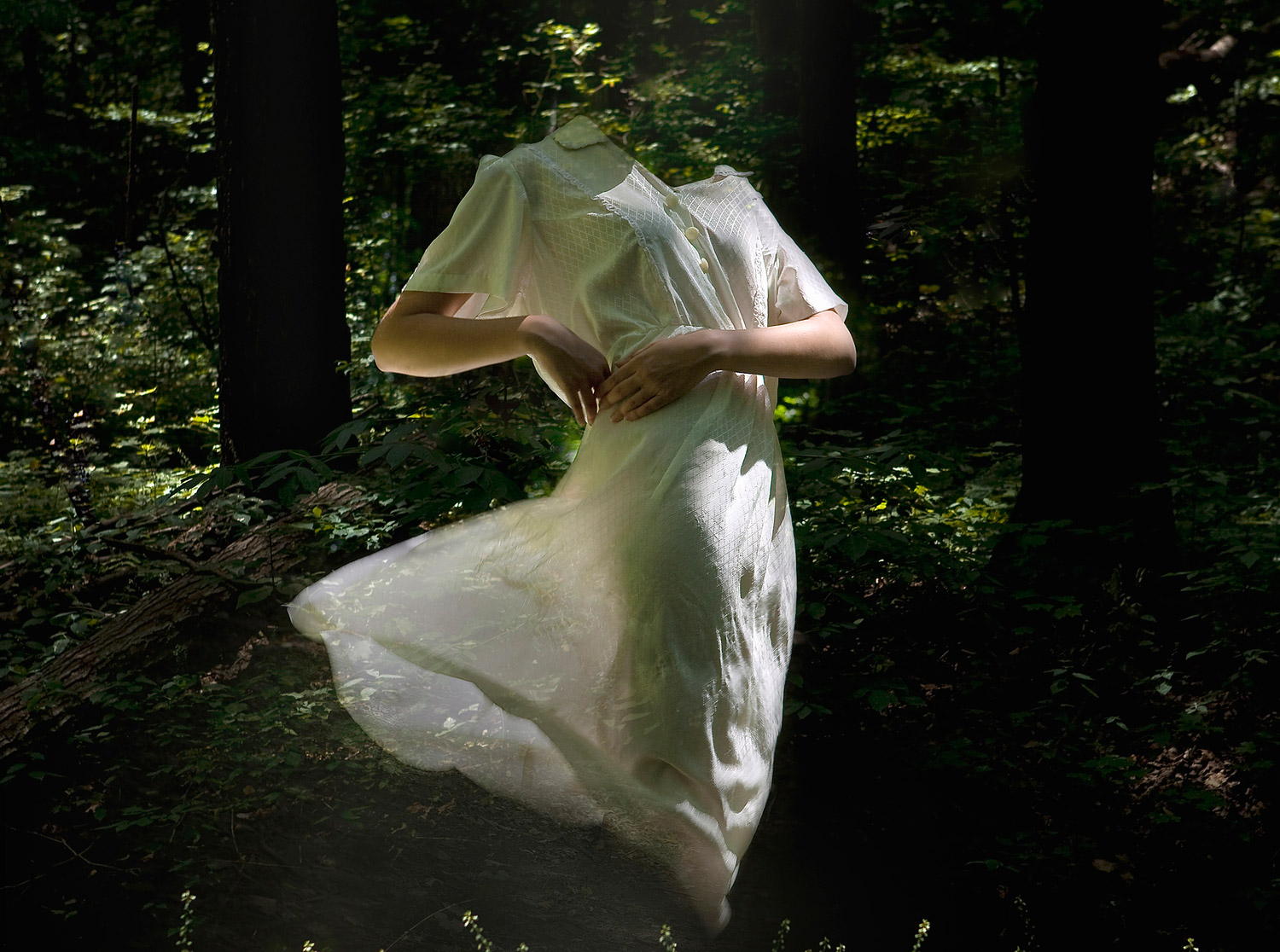 Alice Zilberberg, Forests of Gaia - ghostly dress dancing in forest