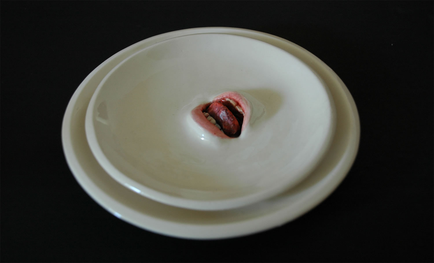 realistic lips emerging from plate, art by Ronit Baranga