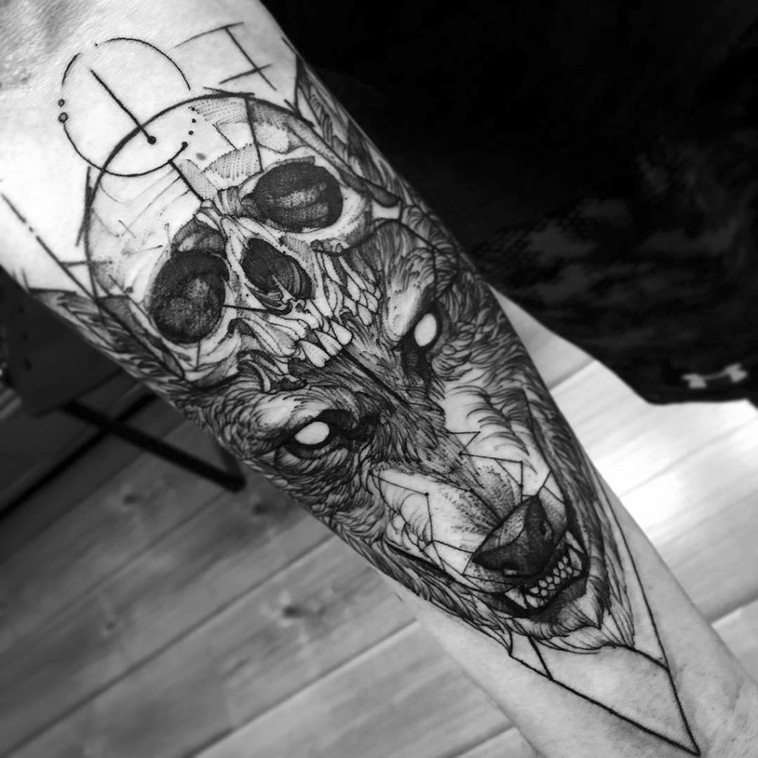 skull and wolf tattoo by fredao
