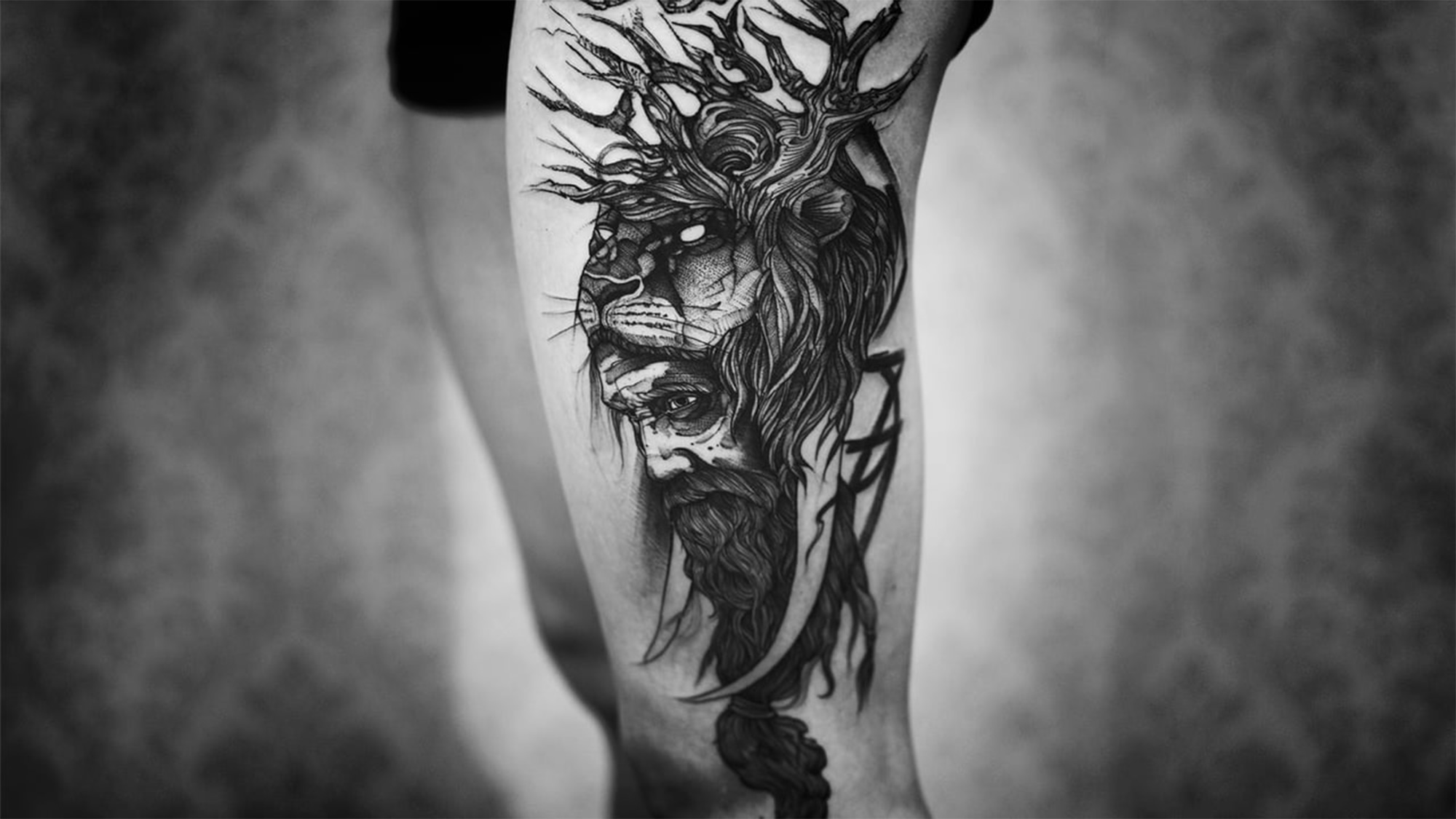 lion tree headed man, frida khalo, Tattoo by Fredão Oliveira