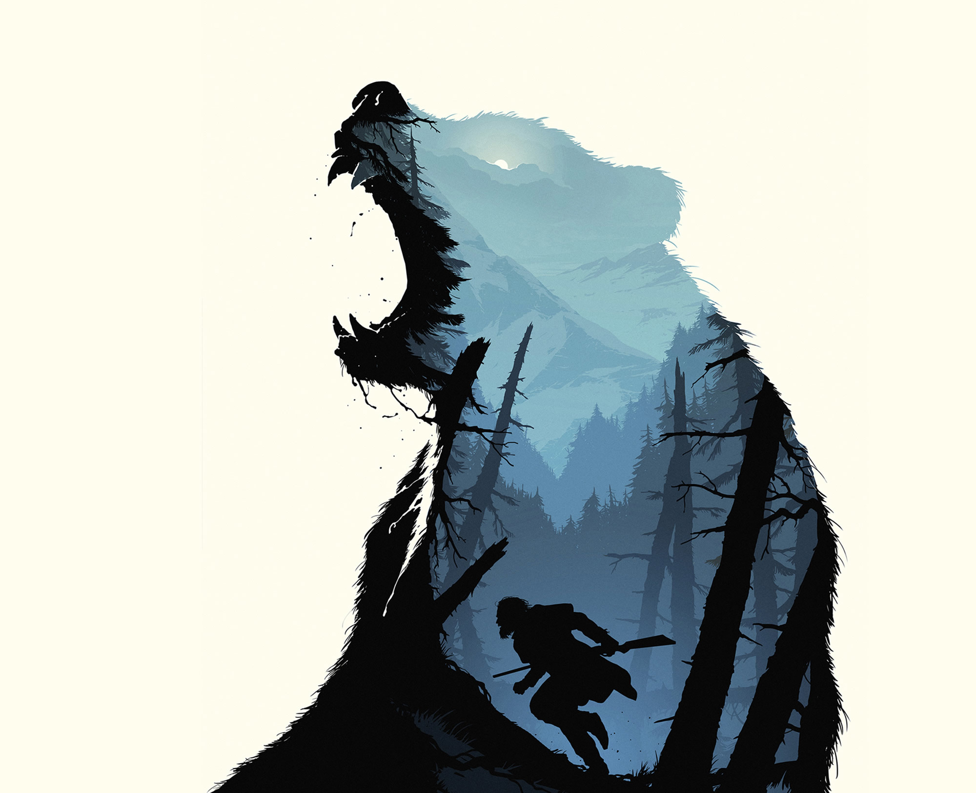 infamous bear in the revenant, double exposure image