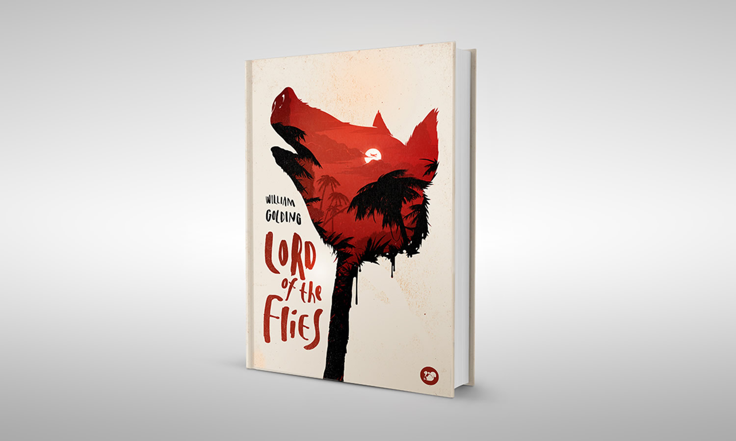 lord of the flies book cover, pig on cover, double exposure illustration