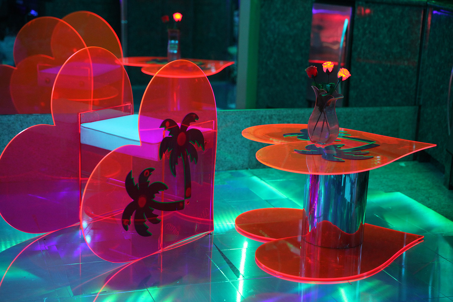 Marina Fini and Signe Pierce, Motelscape - plexiglass furniture