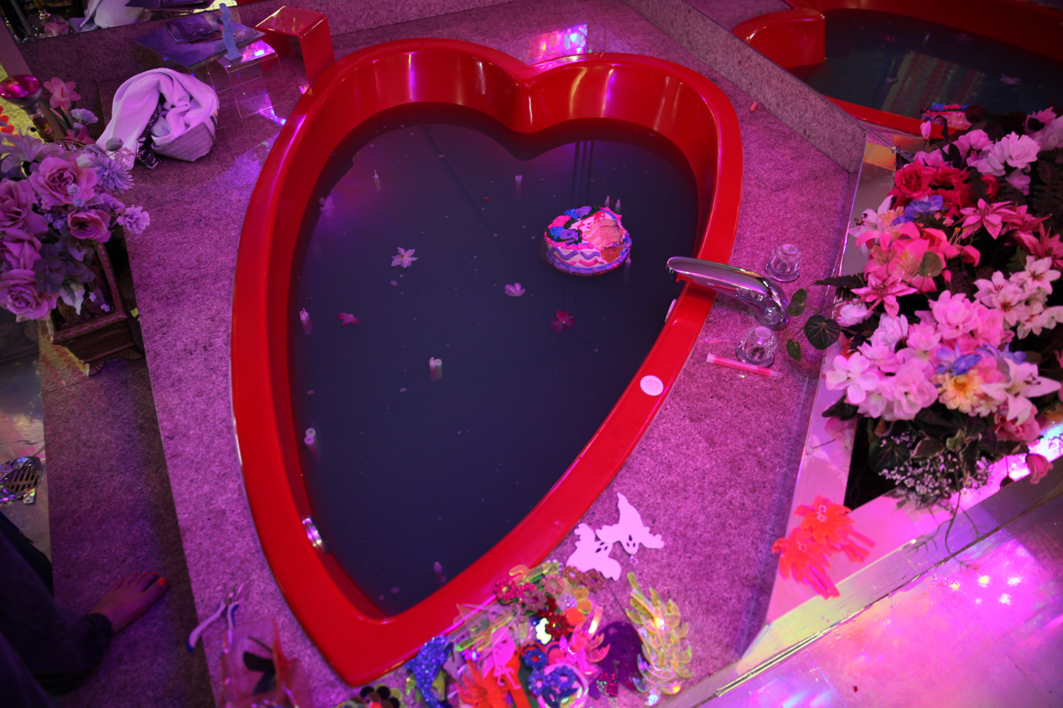 Marina Fini and Signe Pierce, Motelscape - motel heart-shaped bathtub