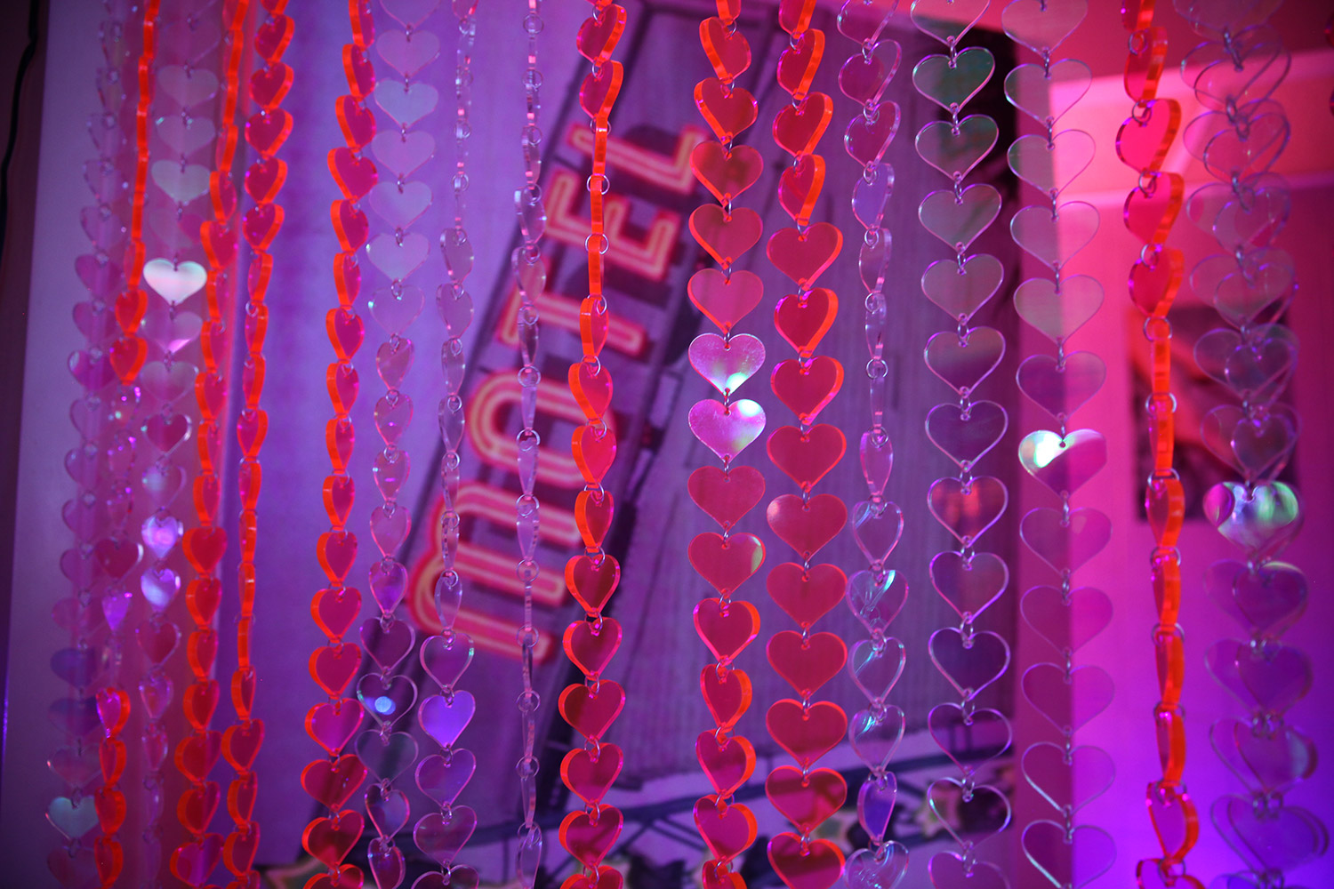 Marina Fini and Signe Pierce, Motelscape - plexiglass beaded curtain