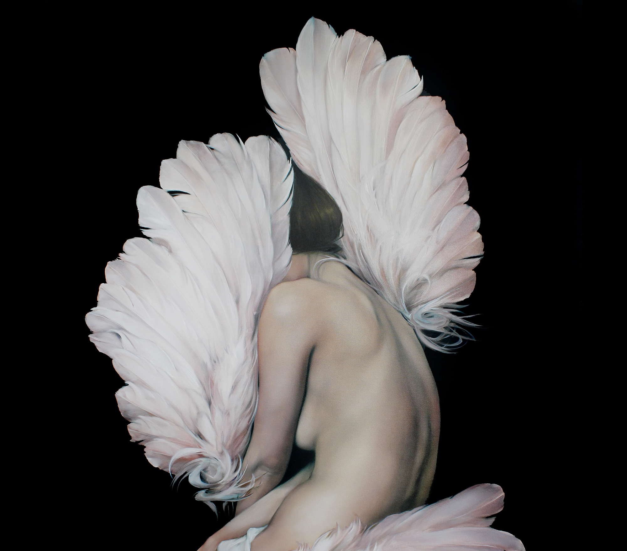 the muse, painting of a woman with feathered wings, by amy judd