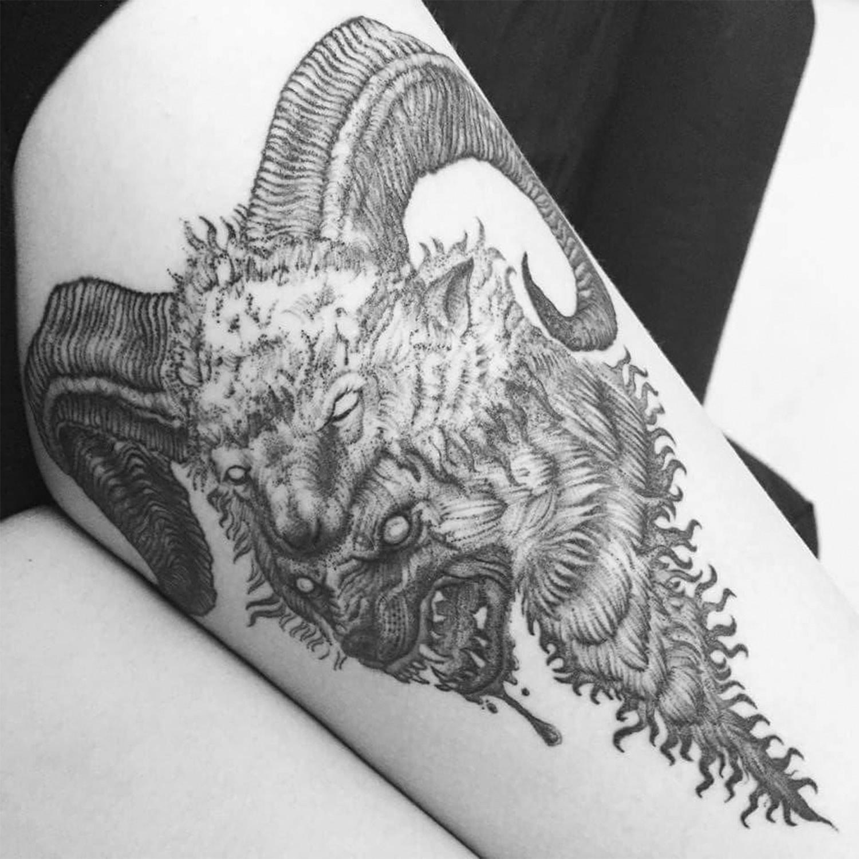 goat and wolf tattoo, dark art