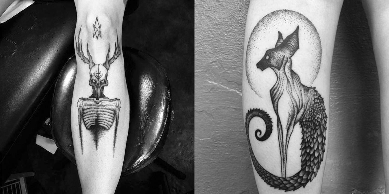 skeleton and cat tattoos