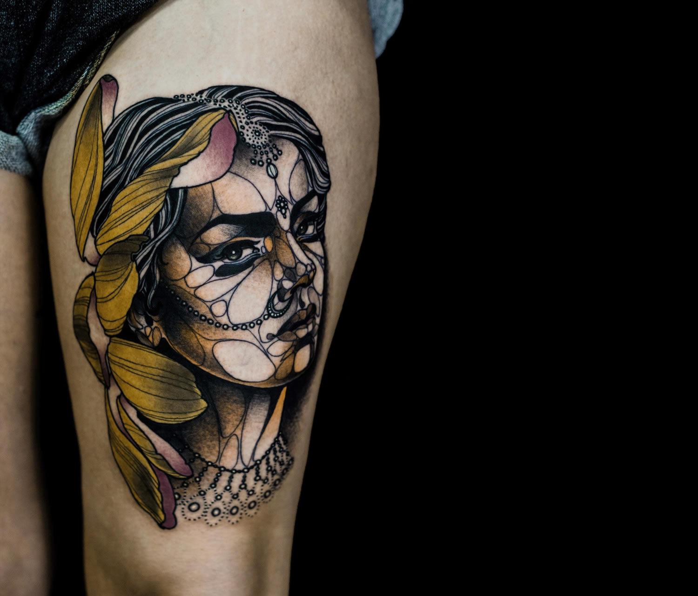 portrait of woman, tattoo
