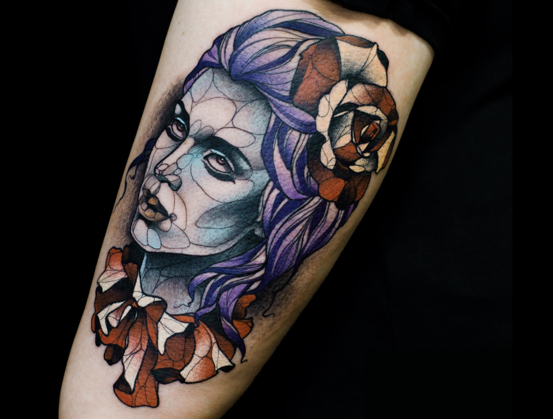 blue purple portrait tattoo of woman