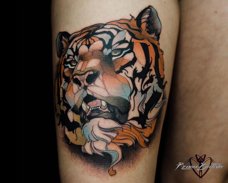 tiger tattoo on leg
