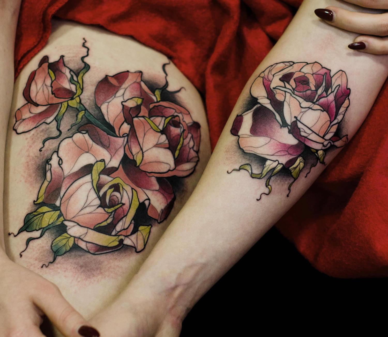 geometric roses tattoos