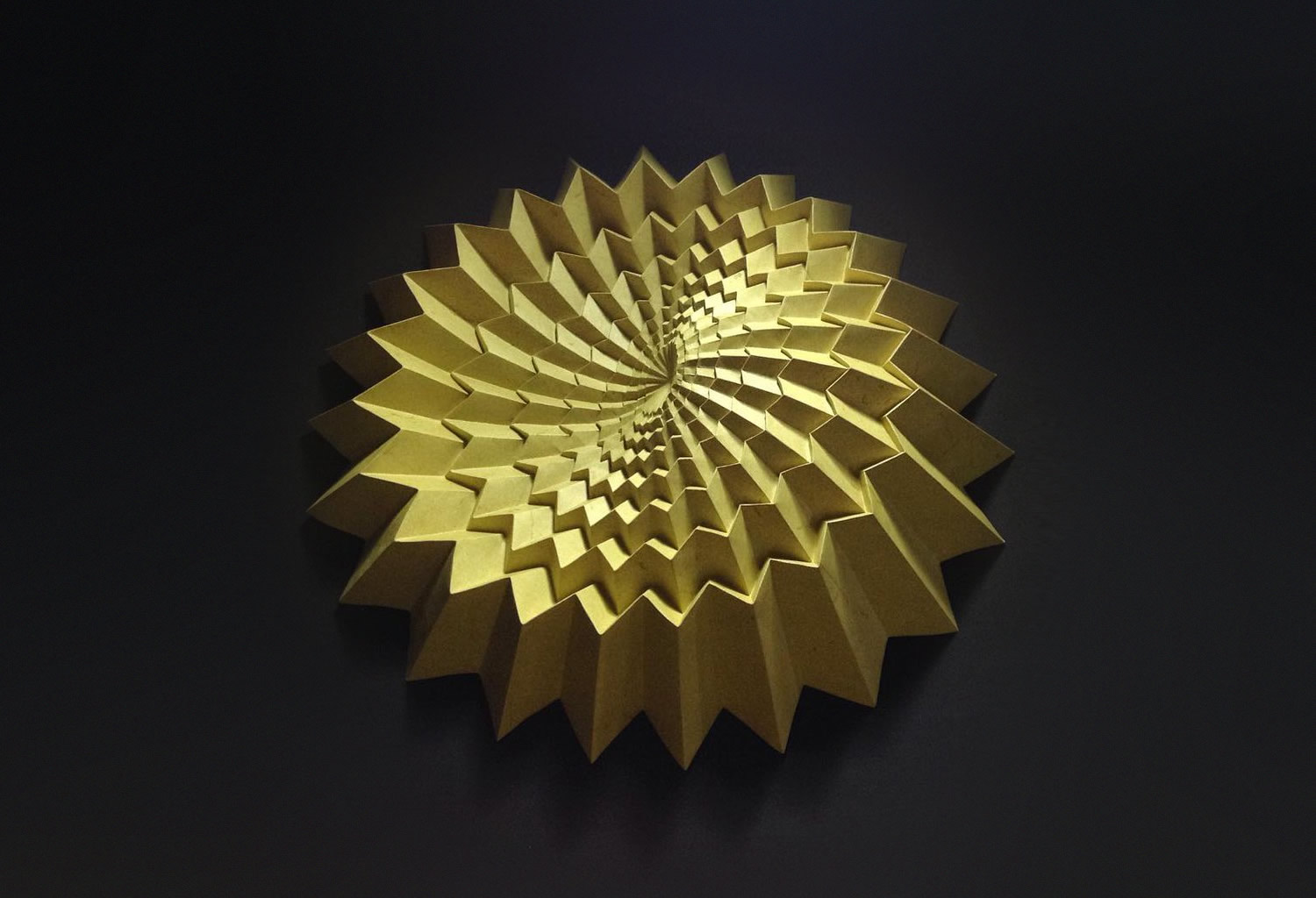 yellow fractal origami by robby kraft, inspired by Robert J. Lang
