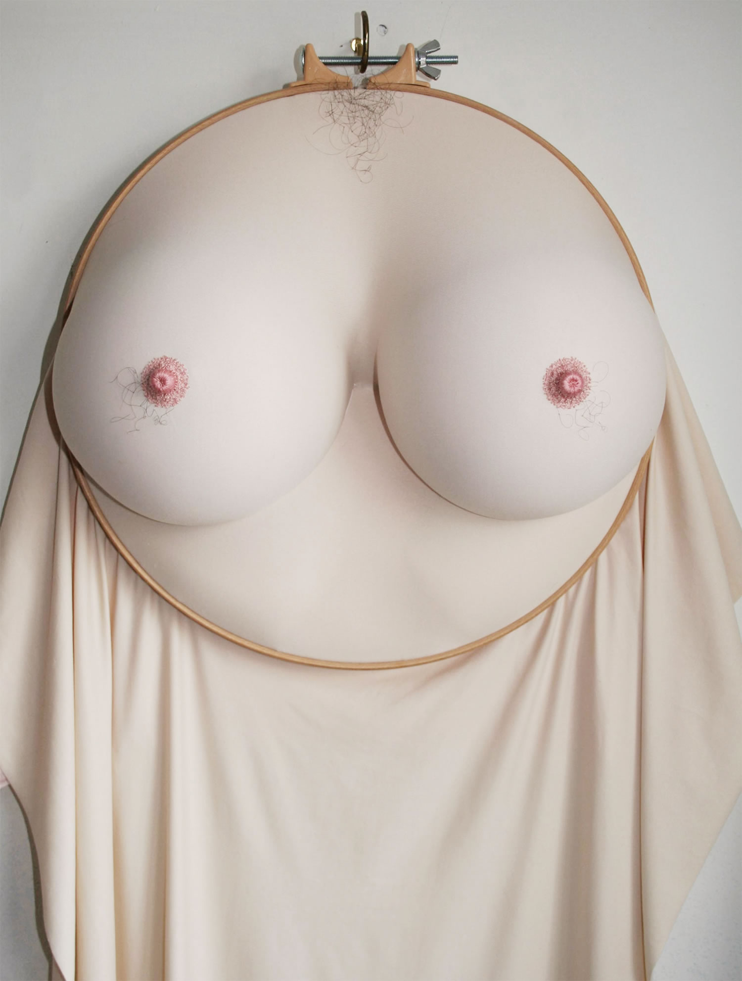 hairy chest and breasts, embroidery