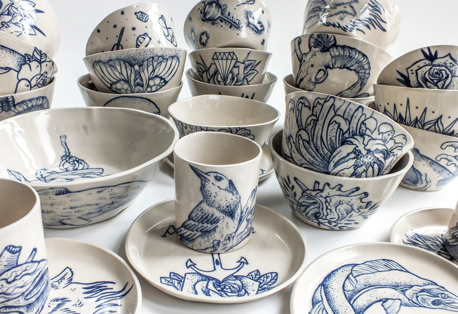 tattooed ceramics, cups, plates. Blue ink on white, Ceramics by Antikapratika