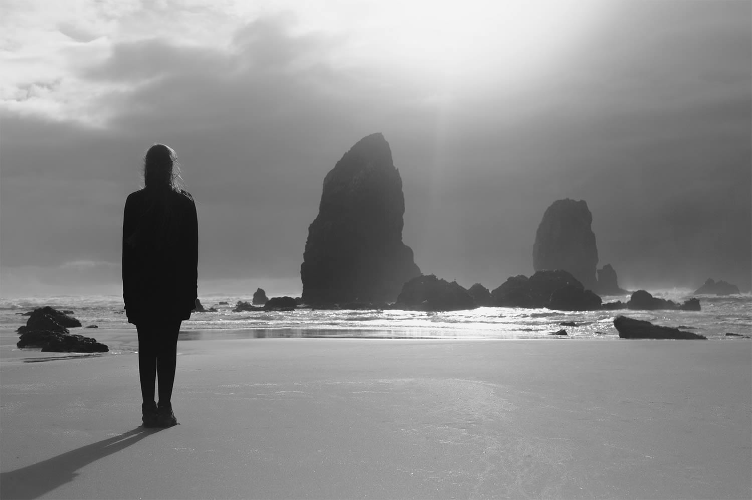 woman standing on beach, photography
