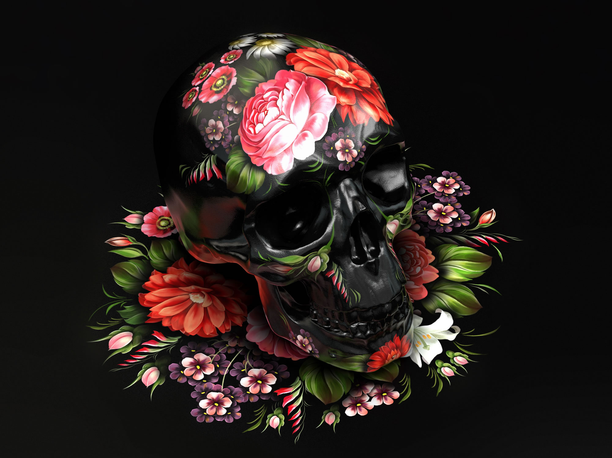 black skull with flowers, Folk Fusion Poster by Aleksandra Vinogradova