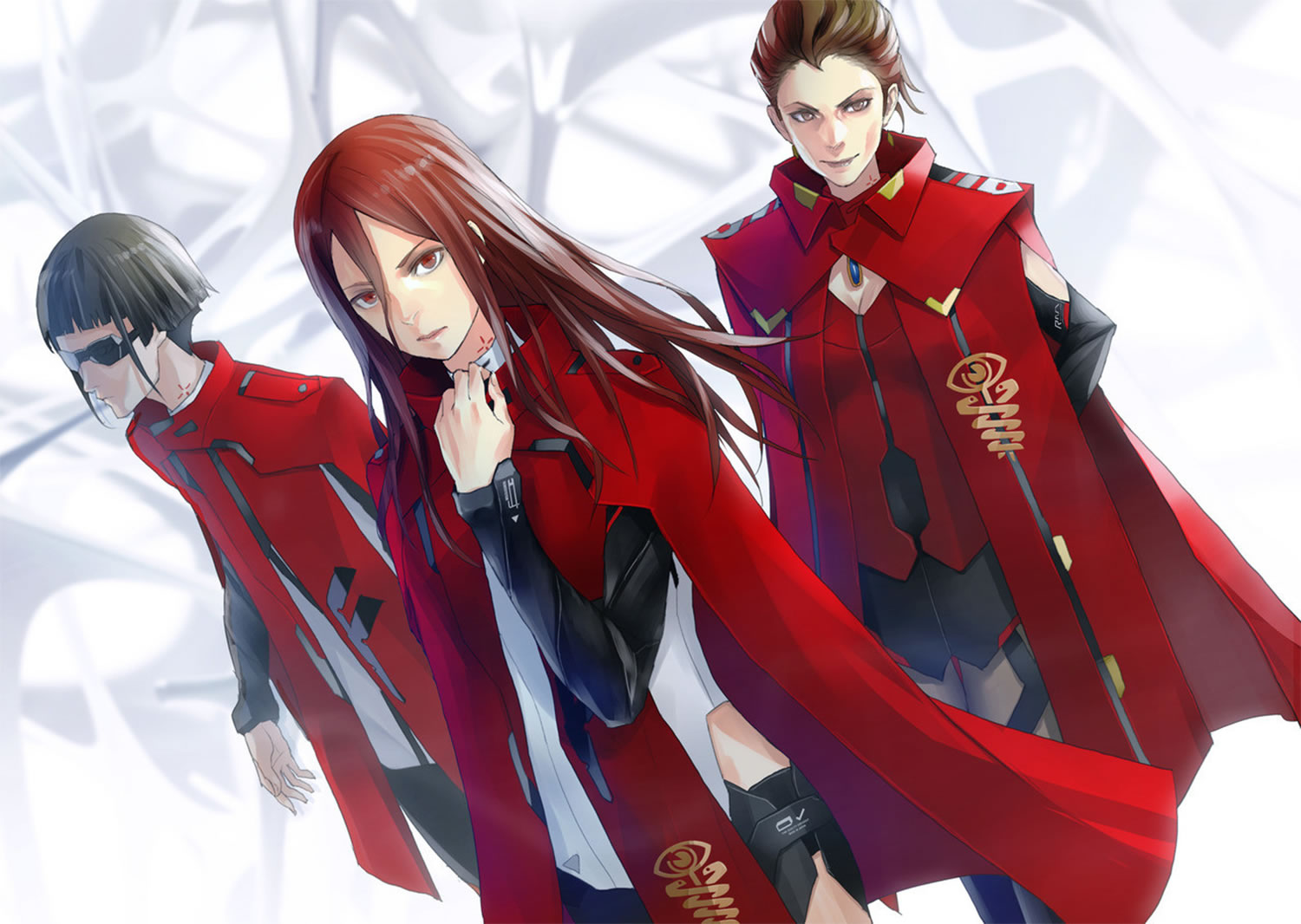 Futuristic Women Dressed In Red Harmony Anime