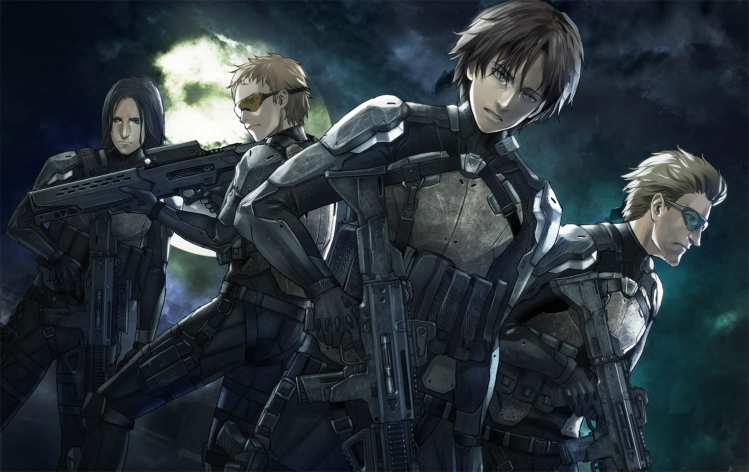sci-fi, men in space suits with weapons, Genocidal Organ