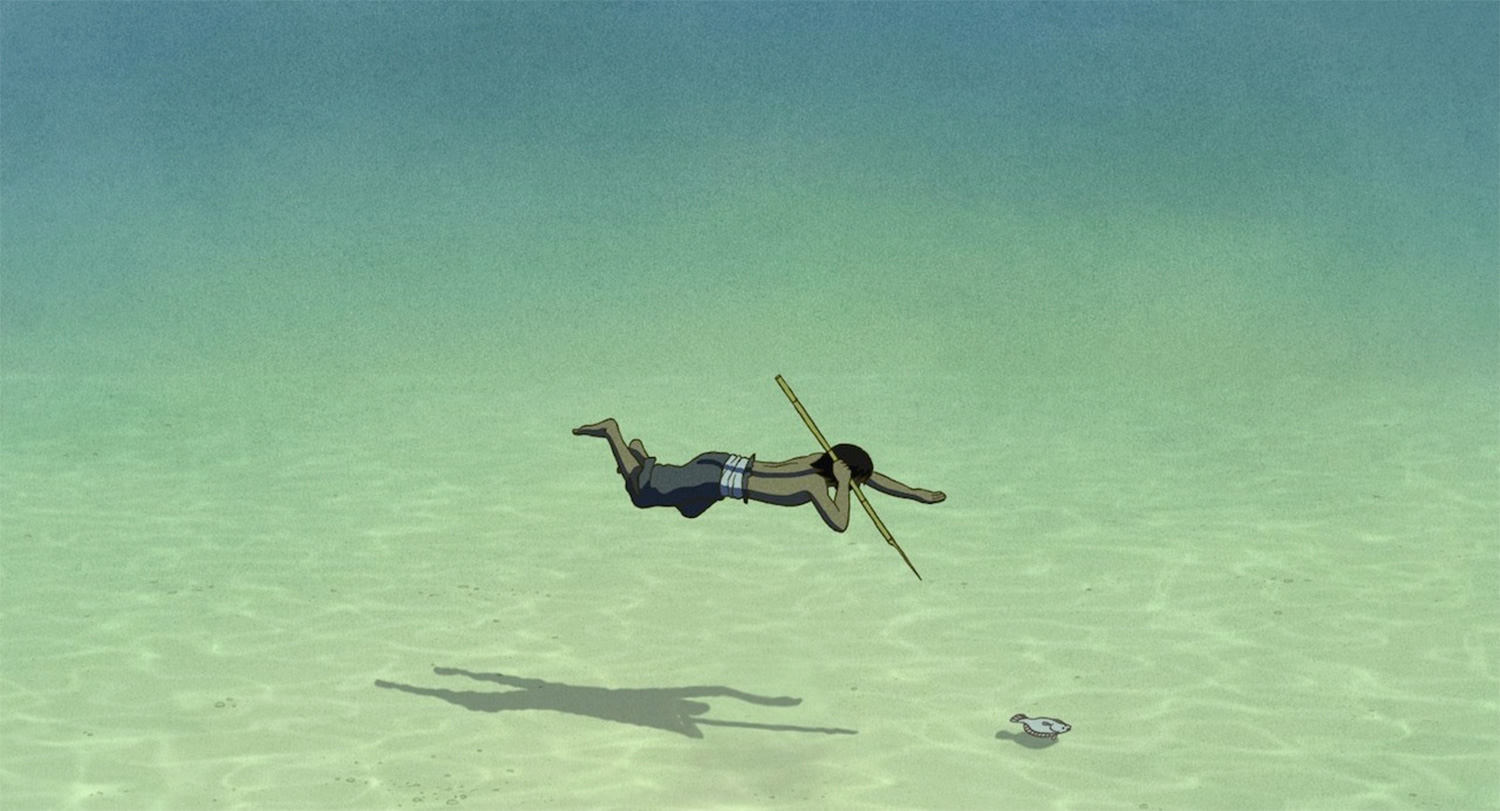 man spearfishing in The Red Turtle, anime