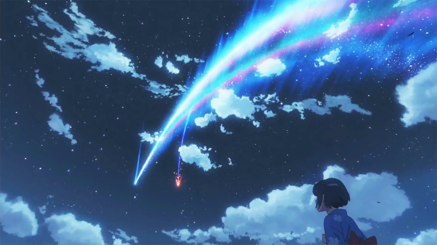 Girl looking at the sky comet flying over kimi no na wa
