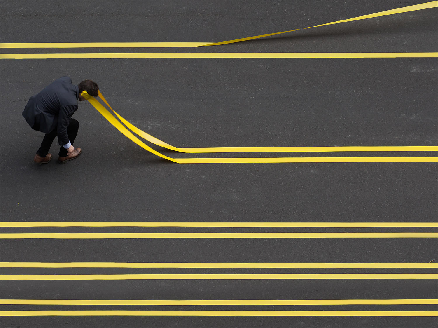 yellow tape strips on road, photography