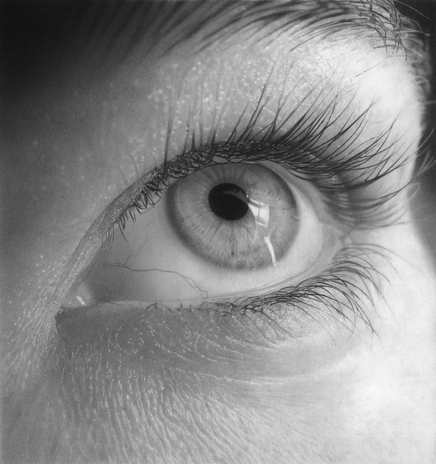 eye looking up, pencil drawing