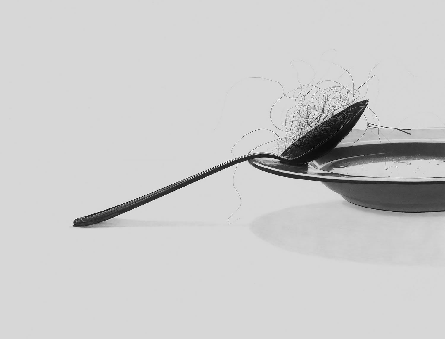 hairy spoon, and plate, drawing