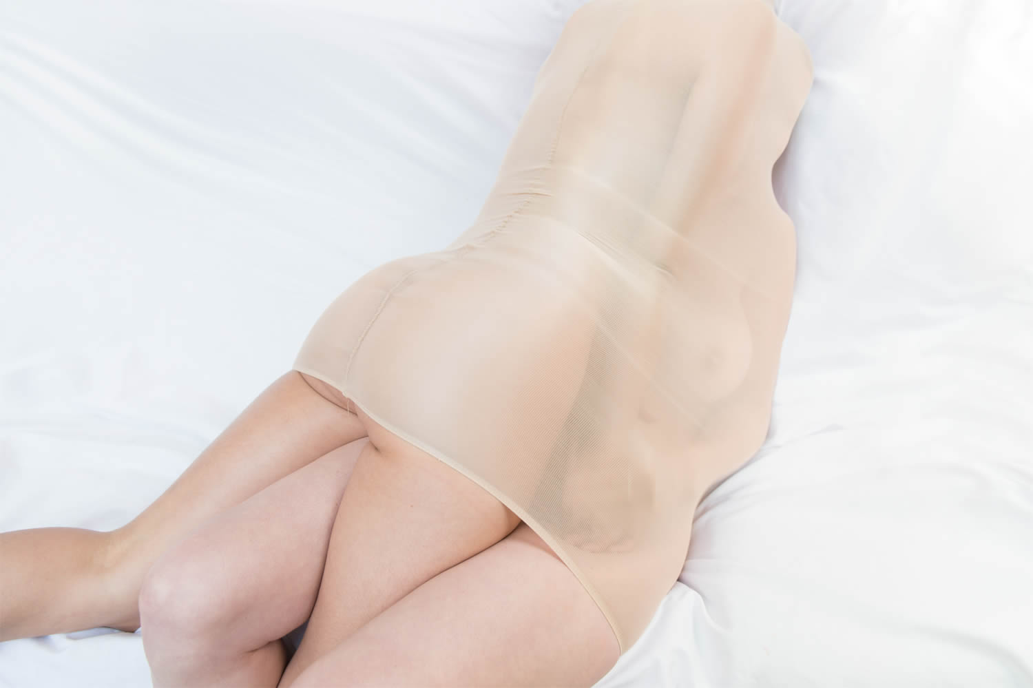 two women wrapped in pantyhose, flush photo series