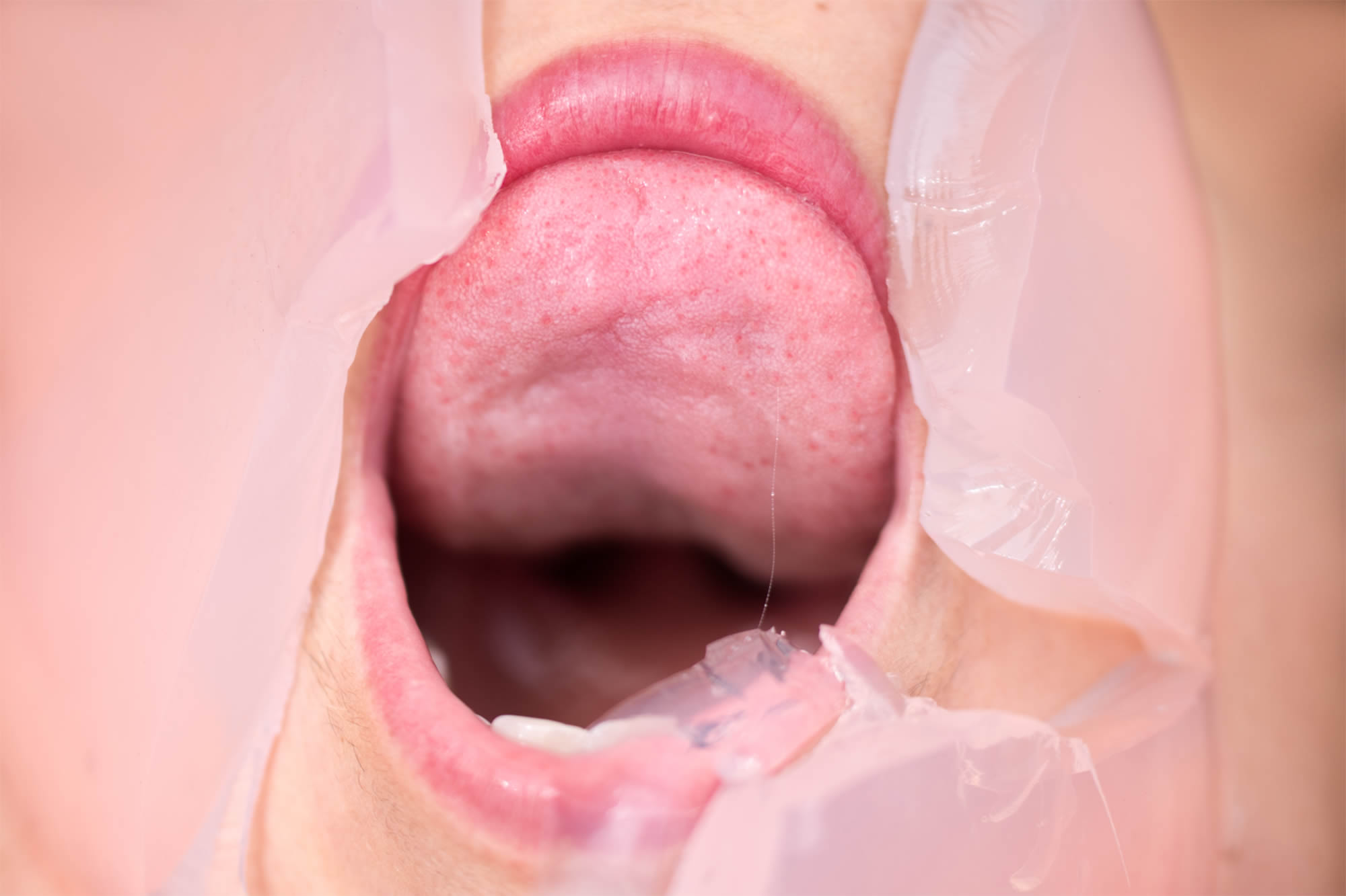 mouth eating pink gelatin, flush photo series