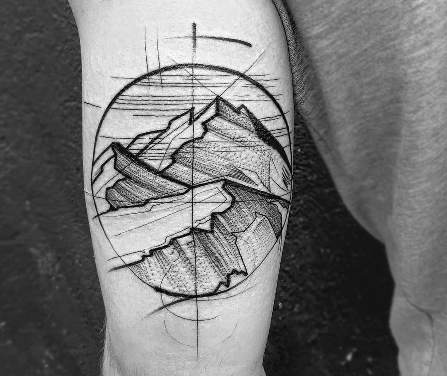 mountain tattoo, linework