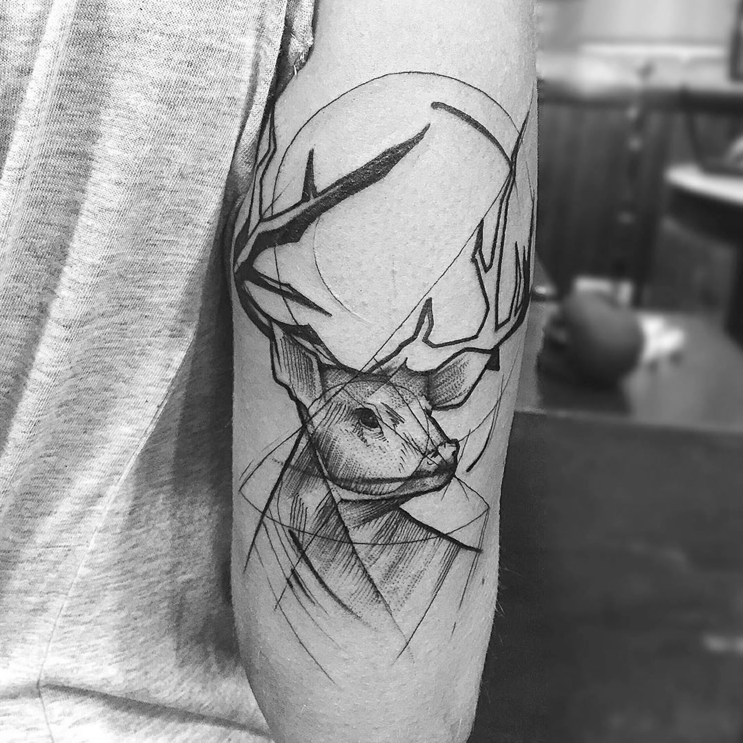 male deer, stag, tattoo