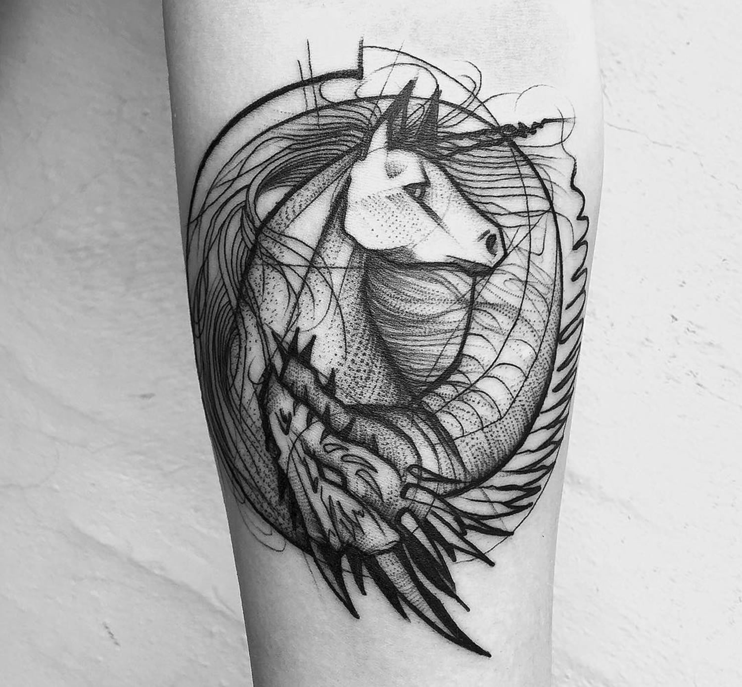 horse tattoo, linework, black ink