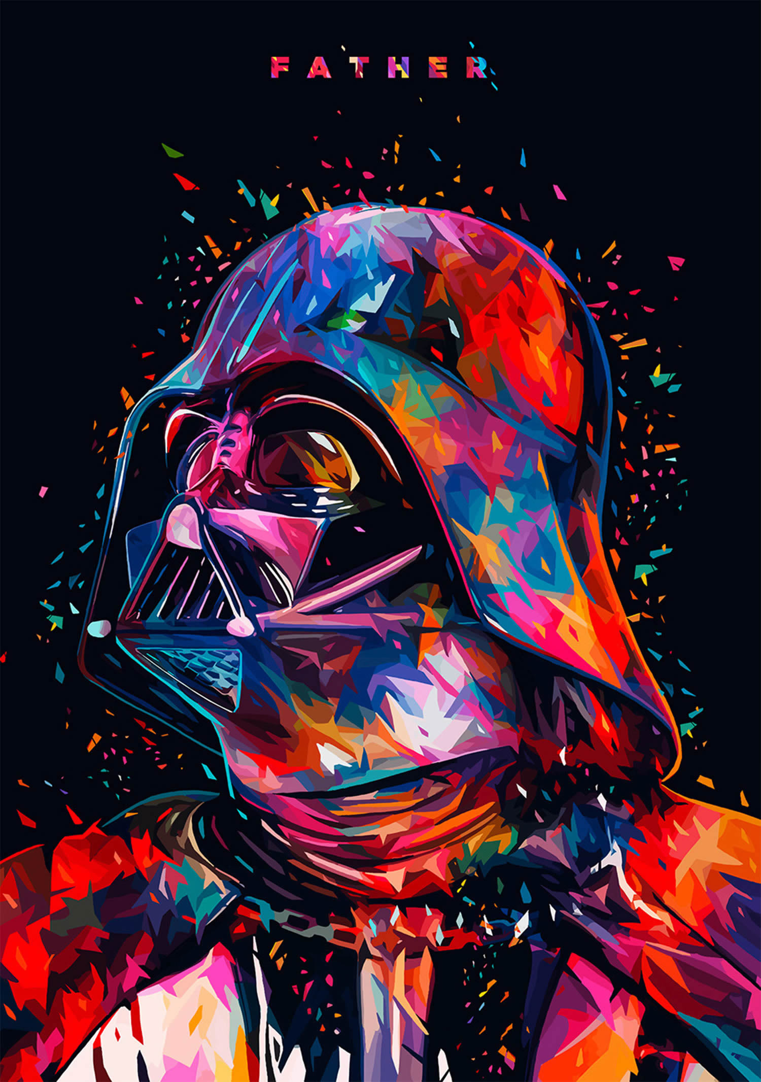 rainbow colored darth vader, by Alessandro Pautasso