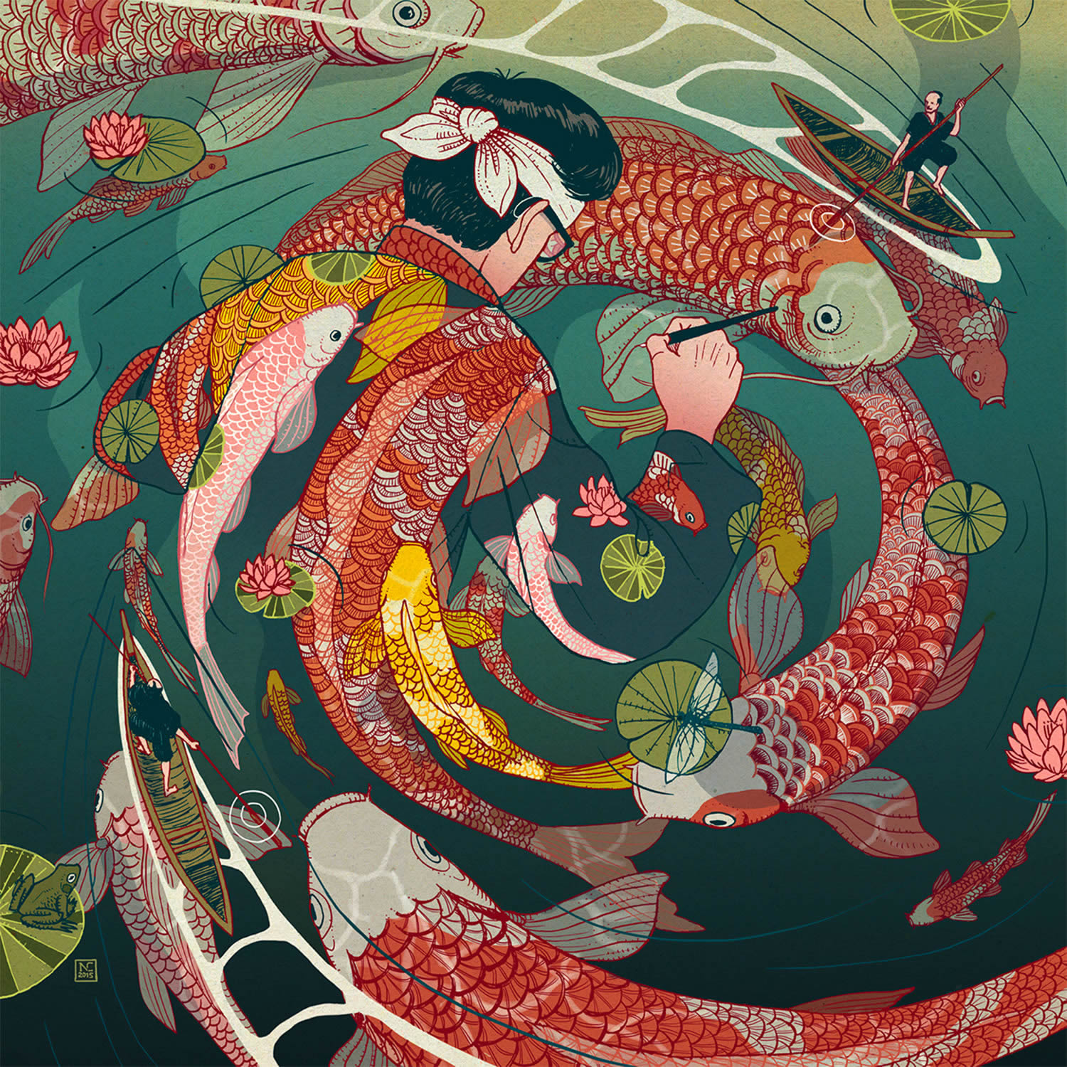 japanese style illustration, man swirling with koi fishes, by Nicolás Castell