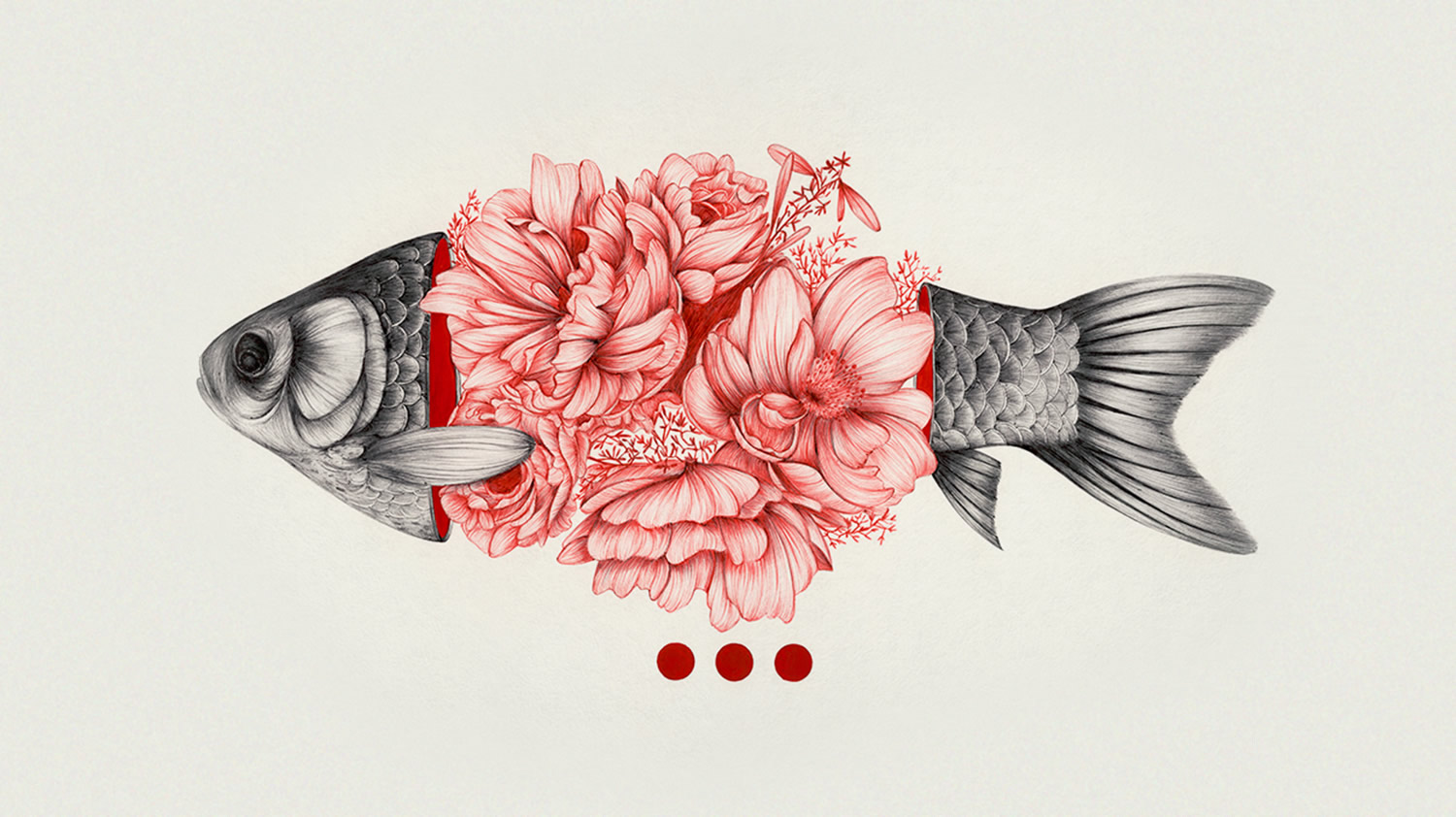 to bloom not to bleed, roses blooming from fish by peony yip