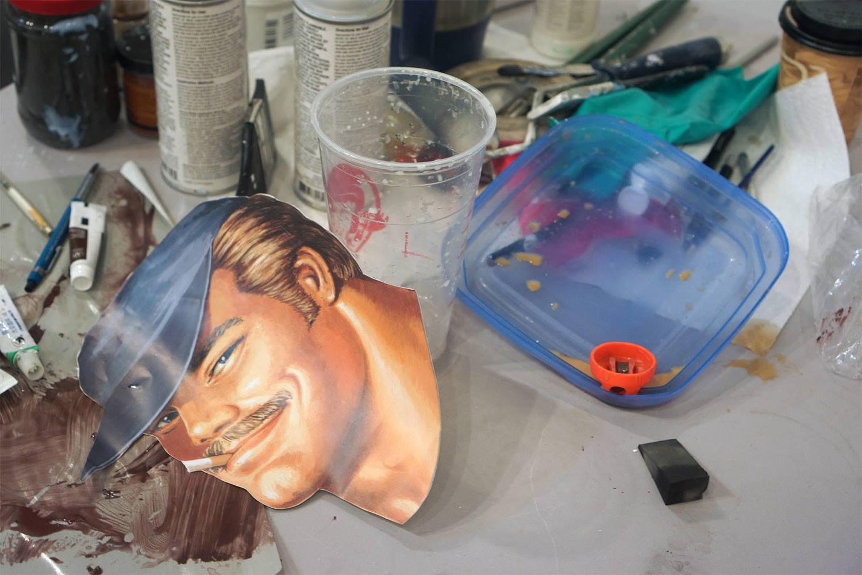 behind the scenes shot, artist's studio