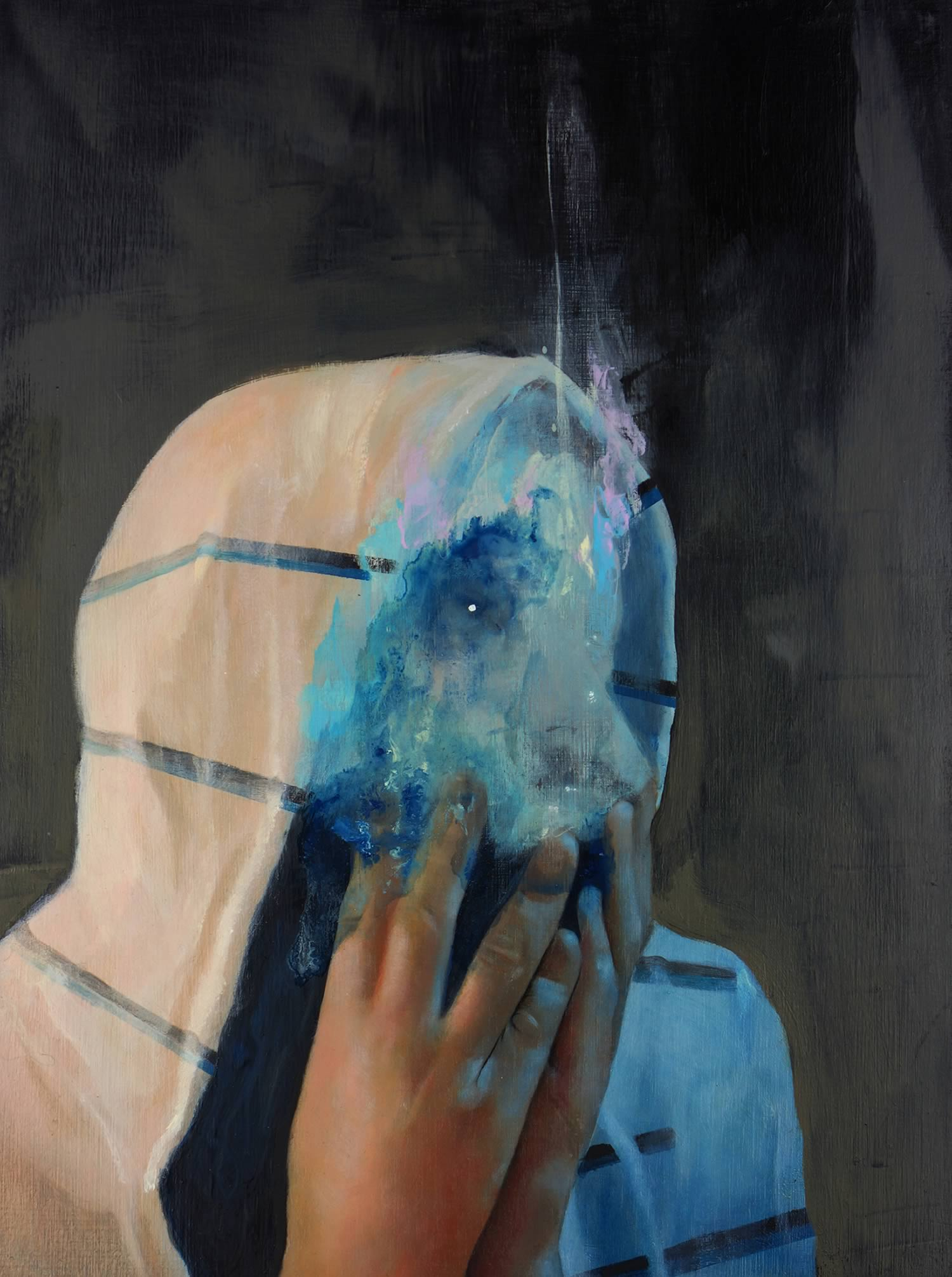 "blue smudged face, painting, Another Idea 16"" x 12"" Oil, acrylic , graphite on wood"