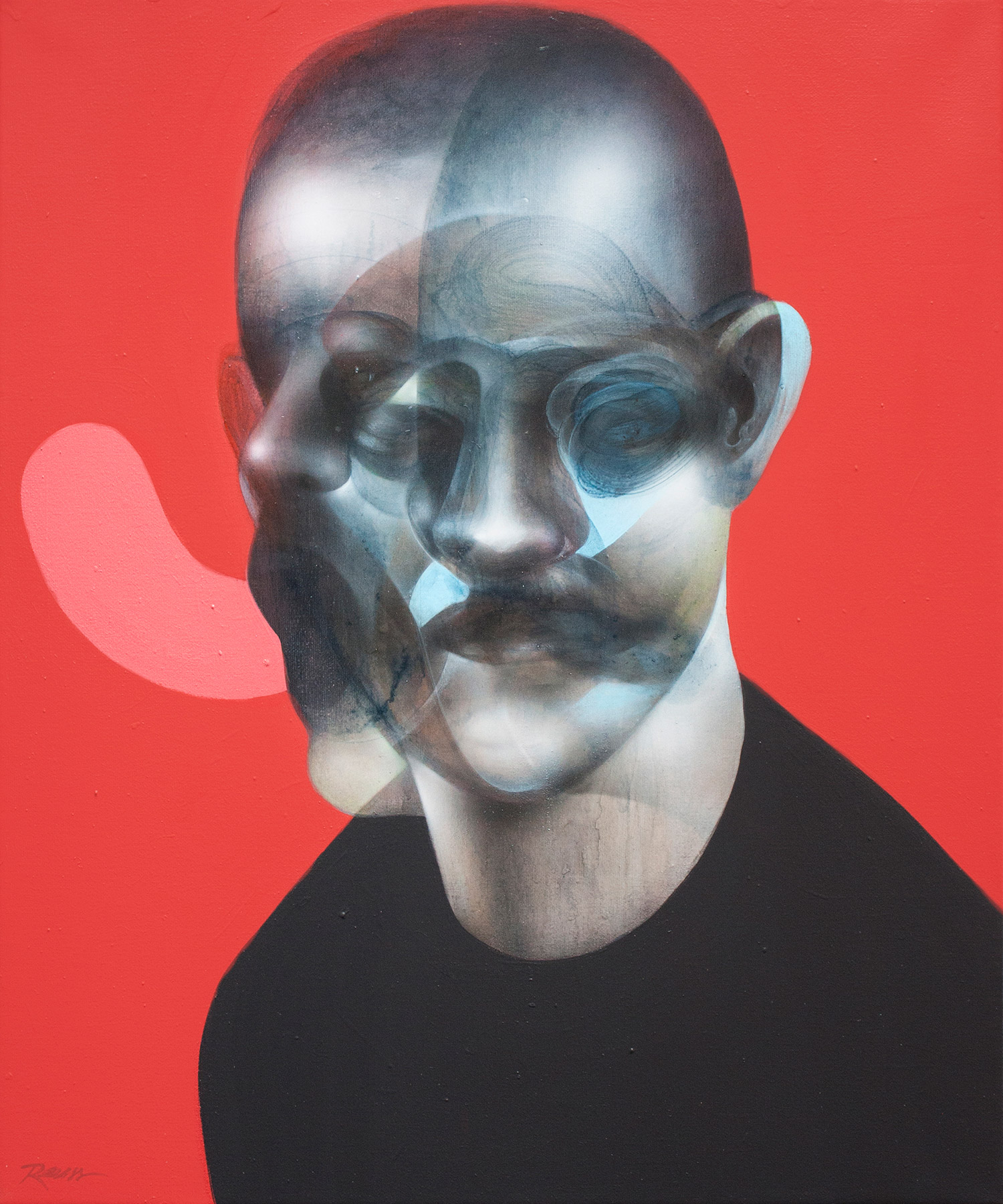 John Reuss - head with blurred, multiple faces and red backdrop