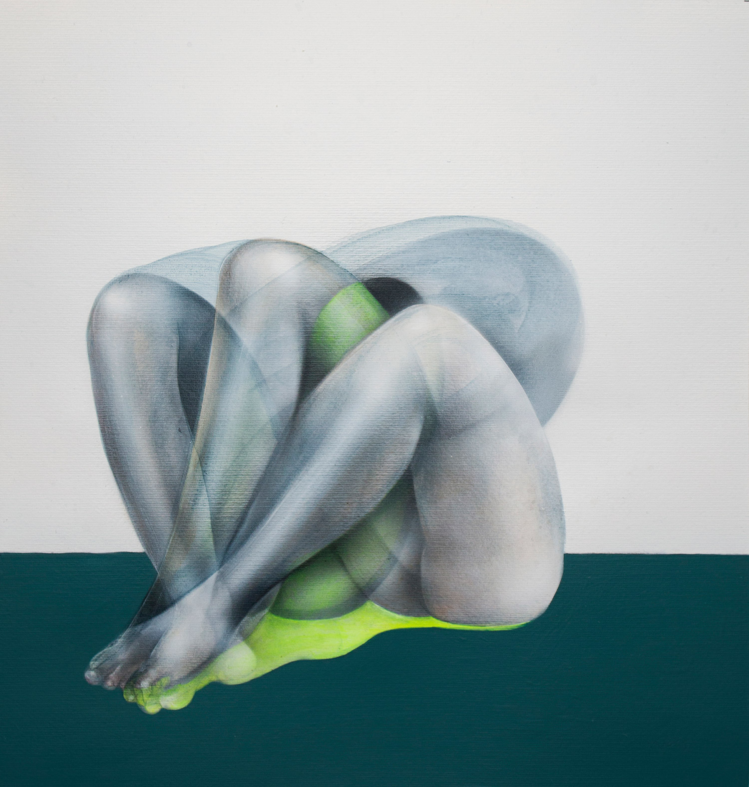 John Reuss - Untitled - green figure crouching