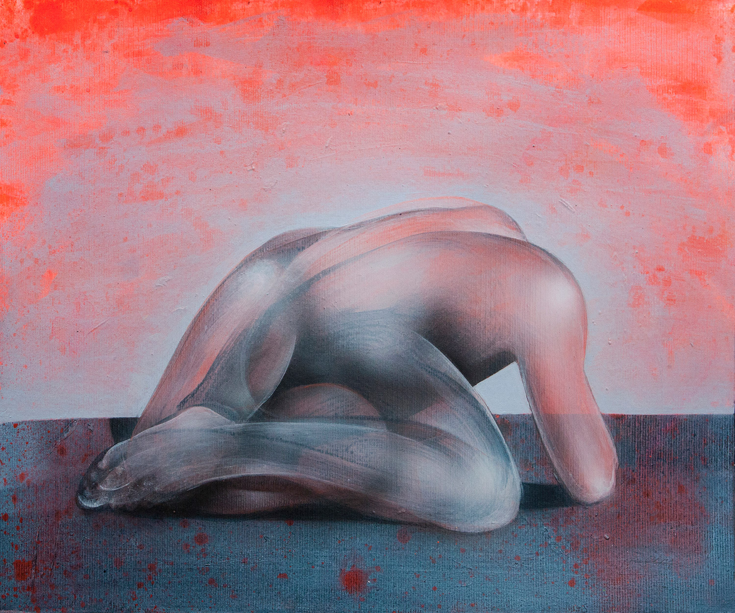 John Reuss - Untitled - red backdrop with crouching figure
