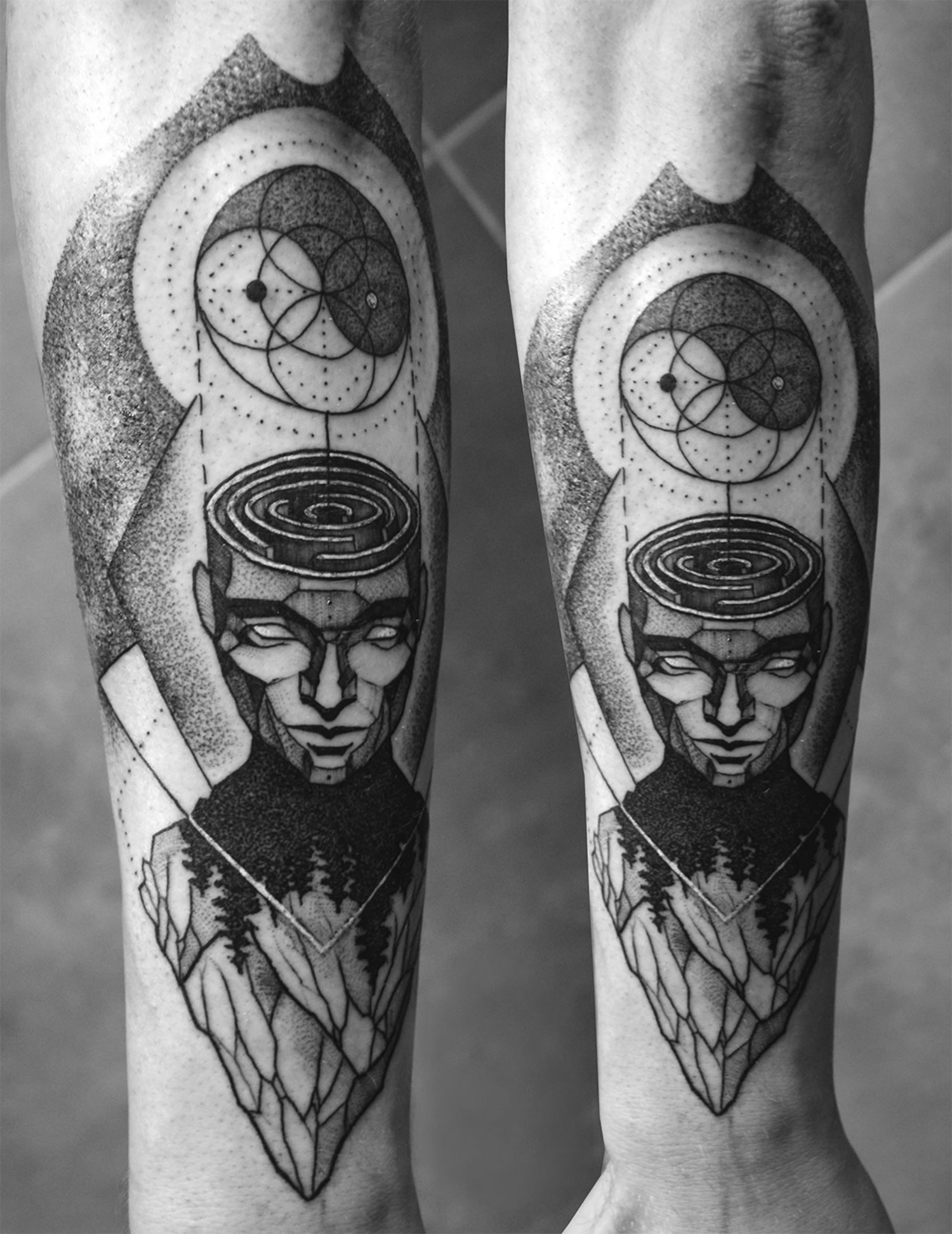 'consciousness' tattoo, open head maze