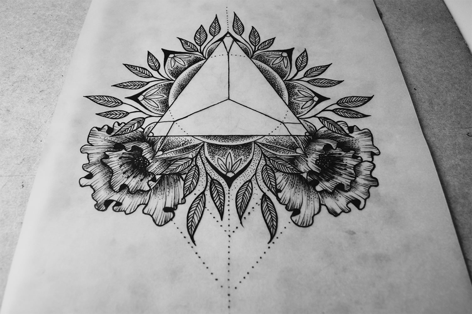 drawing, triangle and mandala tattoo + design